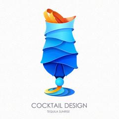3D cocktail tequila sunrise design.Vector icon