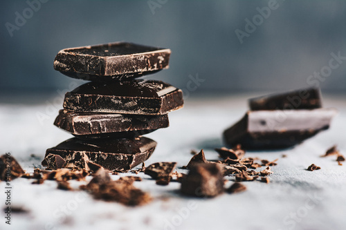 Dark chocolate on grey background