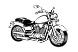 Fototapety Hand-drawn vintage motorcycle. Classic chopper.