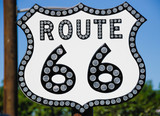 Route 66. Road sign of the more famous american road.