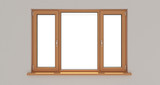 Window. White wall. Isolated window. Wooden window. 3d. 3D render. - 140356135