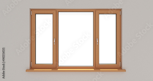 Window. White wall. Isolated window. Wooden window. 3d. 3D render.