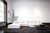 Large spacious modern minimalist living room - 140363914