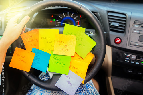 To do list in a car - busy day concept Poster