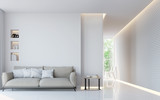 Modern white living room interior 3d rendering image.A blank wall with pure white. Decorate wall with extrude horizon line pattern and hidden warm light - 140371191