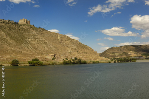 Castle and reservoir of Mequinenza and river Ebro, Zaragoza province, Aragon, Spain