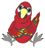 Animal, bird, parrot, red, colorful, wings, feather, beak, macaw, clever, pet, cartoon, sit, ara,