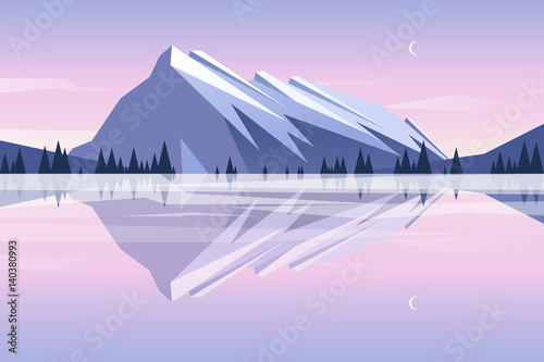 Plexiglas Purper Mountains reflection in the lake