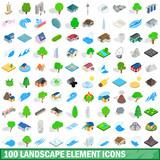 100 landscape element icons set, isometric style