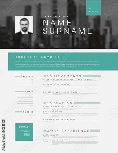 Minimalistic cv / resume template with header photo | Buy Photos ...
