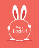 Easter greeting card with round frame and bunny ears