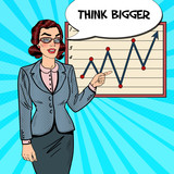 Fototapety Pop Art Business Woman Pointing on Growth Graph. Business Presentation. Vector illustration