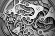 Watch machinery with gears grayscale