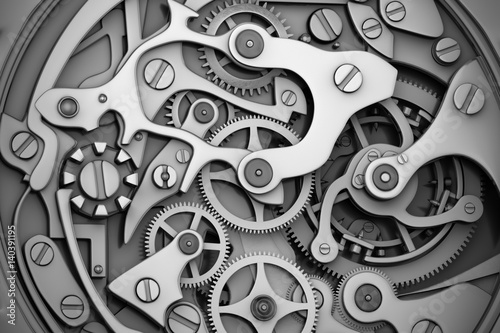 Watch machinery with gears grayscale - 140391195