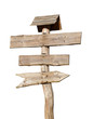 wooden sign post with clipping path included