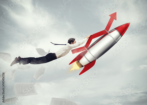 Take-off business success. 3D Rendering Poster