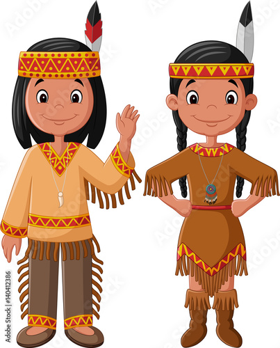 Fotobehang Indiërs Cartoon couple native Indian American with traditional costume