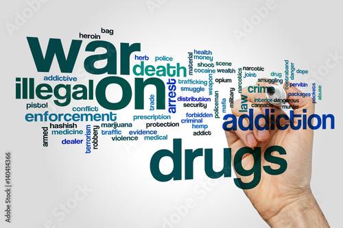 War on drugs word cloud Poster