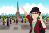Tourist Taking Picture Near Eiffel Tower