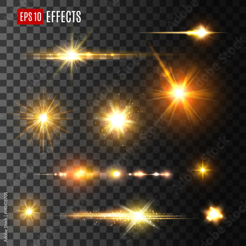 Złoty błysk światła lub gwiazda połysk światła wektorowe ikony