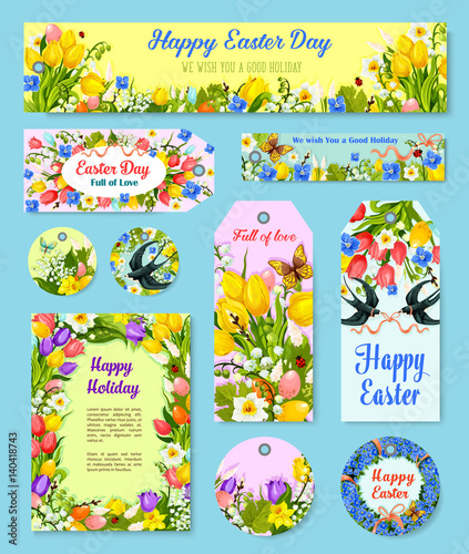 Easter egg floral tag and greeting poster set