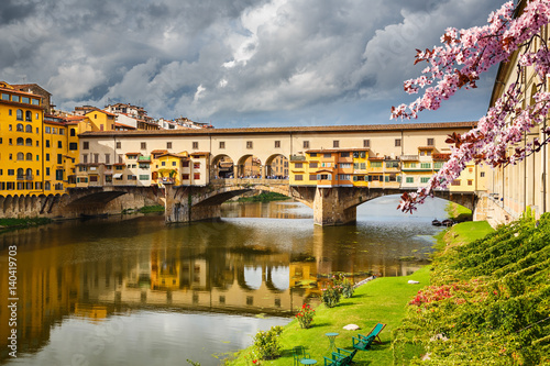 Poster Ponte Vecchio in Florence at spring, Italy