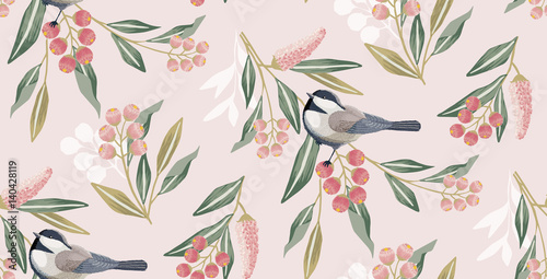 Cotton fabric Vector illustration of a seamless floral pattern in spring for Wedding, anniversary, birthday and party. Design for banner, poster, card, invitation and scrapbook
