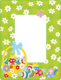 Easter border with a decorated basket, colorful flowers and painted eggs