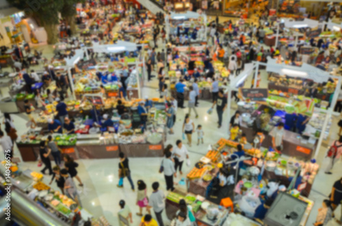 Top view of shopping mall,blurred background