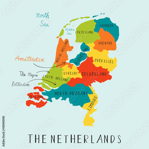 Plakát The Netherland maps hand drawing.illustration vector EPS 10