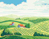 Rural summer landscape with hills and village. - 140449719
