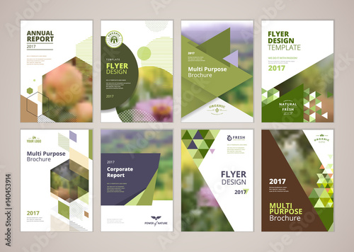 Natural and organic products brochure cover design and flyer layout templates collection. Vector illustrations for marketing material, ads and magazine, natural products presentation templates. - 140453914