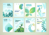 Nature and healthcare brochure cover design and flyer layout templates collection. Vector illustrations for marketing material, ads and magazine, products presentation templates. - 140455167