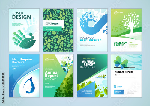 Natural and organic products brochure cover design and flyer layout templates collection. Vector illustrations for marketing material, ads and magazine, products presentation templates. - 140455595