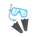 Snorkel, Flippers and Mask Isolated on White - 140461756