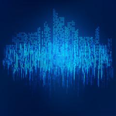 abstract technology background; digital landscape; digital building in matrix style; binary city of bule light,