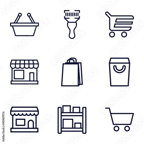 Set of 9 supermarket outline icons