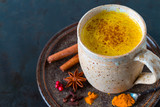 Golden Milk, made with turmeric and other spices - 140472942