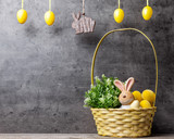 Easter holiday basket with a bunny, eggs and flowers - Fine Art prints
