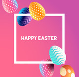 An easter border design with falling decorated easter eggs. Vector illustration