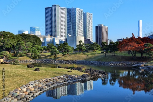 Poster Tokyo park with city skyline