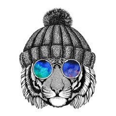 Wild tiger wearing hippie glasses and knitted hat Hipster animal Picture for tattoo, logo, emblem, badge design