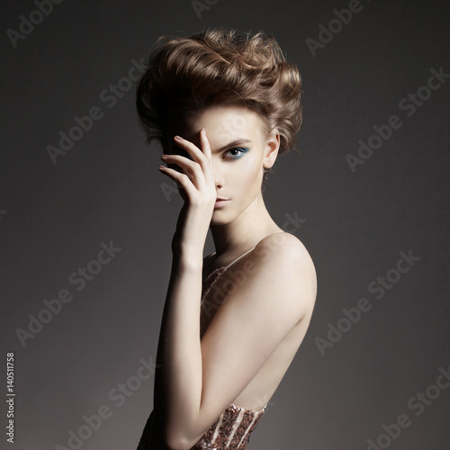 Fotobehang Women Art Elegant lady with art makeup and with fashionable haircut