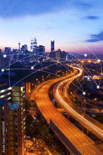 Canvas Kuala Lumpur Kuala Lumpur cityscape and network connection concept.