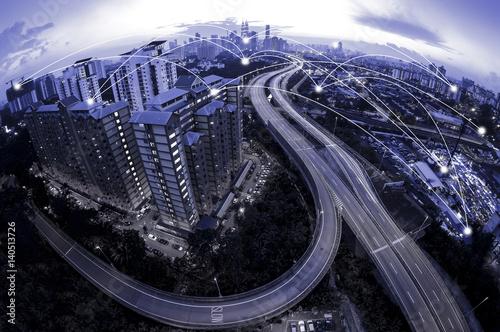 Fotobehang Kuala Lumpur Blue tone Kuala Lumpur cityscape and network connection concept. Fisheye lens effect.