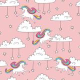 Fototapety Seamless unicorn pattern. Magic vector background with cute unicorns, clouds and stars.