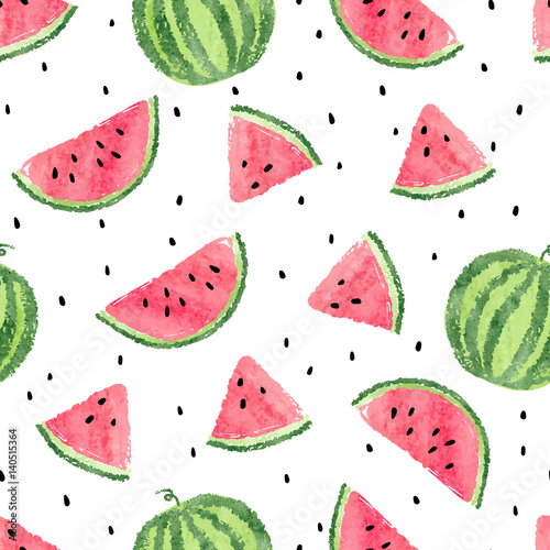 Cotton fabric Watercolor watermelons pattern. Seamless vector background.