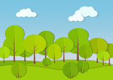 Forest woods cardboard paper landscape. Park green tree with bush Vector illustration.