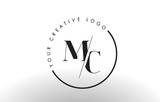 MC Serif Letter Logo Design with Creative Intersected Cut. - 140528339