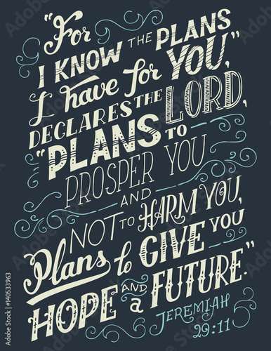 For i know the plans i have for you, declares the lord plans to prosper you and not to harm you, plans to give you hope and a future Poster